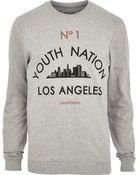 River Island Grey Marl Los Angeles Print Sweatshirt - Lyst