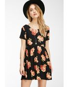 Forever 21 Rose Print Babydoll Dress - Lyst