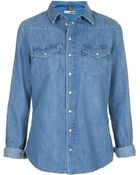 Topshop Moto Fitted Denim Shirt - Lyst