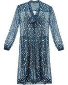 BCBGMAXAZRIA Stacy Drop-Waist Tie-Neck Dress - Lyst
