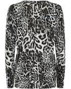 MICHAEL Michael Kors Leopard Print Cardigan - Lyst