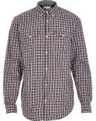 River Island Dark Red Military Check Long Sleeve Shirt - Lyst