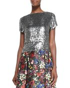 Alice + Olivia Sarita Short-Sleeve Sequined Tee - Lyst