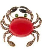 Oscar de la Renta Swarovski Crystal Crab Brooch - Lyst