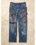 Free People Womens Vintage Paint Splattered Dickie'S Denim Pants - Lyst