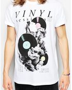 Asos T-Shirt With Vinyl Print And Rolled Sleeve Skater Fit - Lyst