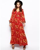 Asos Curve Maxi Dress in Boho Paisley - Lyst
