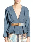 Donna Karan New York Frayed-Hem Belted Jacket - Lyst