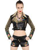 Philipp Plein Embellished Nappa Leather Moto Jacket - Lyst