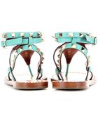 Valentino Rockstud Double Leather Sandals - Lyst