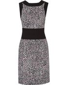 Oscar de la Renta Printed Crepe And Knitted Wool Dress - Lyst