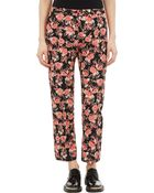 Marni Floral-Print Cropped Trousers - Lyst