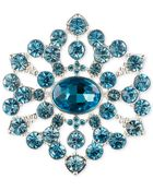 Jones New York Silver-Tone Aqua Round Flower Pin - Lyst