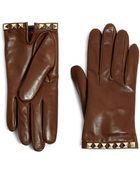 Valentino Rockstud Leather Gloves - Lyst