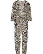 Just Cavalli Printed Silk-Chiffon Jumpsuit - Lyst