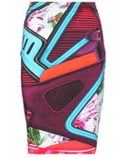 Mary Katrantzou Diamond Printed Stretch-Cotton Skirt - Lyst