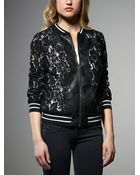 Patrizia Pepe Bomber Jacket In Viscose With Lace Layer - Lyst