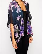 Lipsy Lace Back Kimono In Fall Floral Print - Lyst