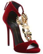 Giuseppe Zanotti Red Velvet Chain Link Stiletto Sandals - Lyst