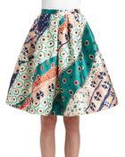 Oscar de la Renta Silk Wool Larimar Print Skirt - Lyst