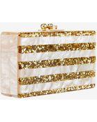 Edie Parker Glitter Stripe Jean Box Clutch: Gold - Lyst