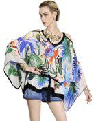 Roberto Cavalli Tropical Printed Silk Chiffon Caftan Top - Lyst
