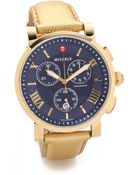Michele Sport Sail Large Dial Watch - Gold/Navy - Lyst