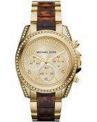Michael Kors Mid-Size Golden Stainless Steel Blair Chronograph Glitz Watch - Lyst