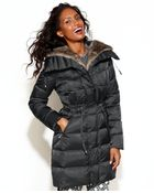 Laundry By Shelli Segal Hooded Faux-Fur-Lined Belted Down Puffer Coat - Lyst