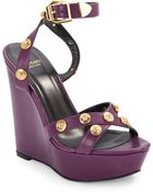 Versace Medusa Medallion Leather Wedge Sandals - Lyst