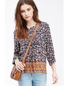 Forever 21 Floral Print Peasant Blouse - Lyst