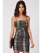 Missguided Justine Crepe Snake Cut Out Bodycon Dress Khaki - Lyst