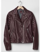 Gap Quilted Leather Biker Jacket - Lyst