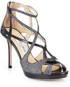 Jimmy Choo Vidane Glitter  Metallic Leather Strappy Sandals - Lyst