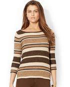 Lauren by Ralph Lauren Petite Striped Boat Neck Sweater - Lyst