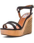 Lanvin Wedge Sandal Leather Espadrilles - Lyst