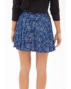 Love 21 Windowpane Print Skater Skirt - Lyst