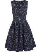 Karen Millen Palm Print Full Skirted Dress - Lyst