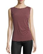 Laundry by Shelli Segal Ruched Circle-Print Sleeveless Top - Lyst