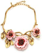 Oscar de la Renta Painted Flower Necklace - Lyst