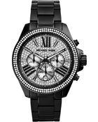 Michael Kors Women'S Chronograph Wren Black Ion-Plated Stainless Steel Bracelet Watch 42Mm Mk6059 - Lyst