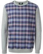 Markus Lupfer Tartan Pattern Front Sweater - Lyst