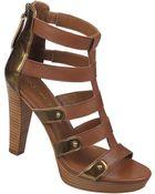 Franco Sarto Bambu Patent Leather Heeled Sandals - Lyst