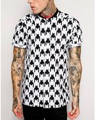 Asos Smart Baseball Shirt In Short Sleeve With Houndstooth Print - Lyst