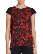 Kensie Floral-Print Lace-Back Tee - Lyst