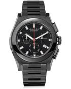Gucci Chronograph Black Pvd Stainless Steel Link Watch - Lyst