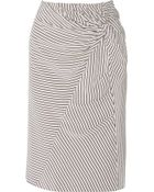 Band Of Outsiders Gathered Striped Silk Crepe De Chine Skirt - Lyst