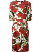 Dolce & Gabbana Roses Print Embossed Dress - Lyst