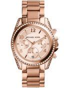 Michael Kors Blair Rose Gold-Tone Chronograph Watch - Lyst