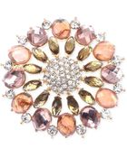 Jones New York Gold-Tone Pink Stone And Crystal Cluster Pin - Lyst